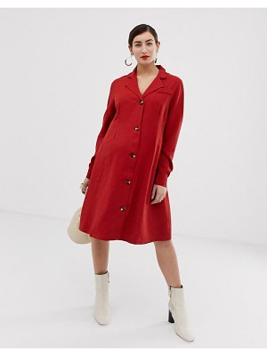 Glamorous Bloom button front dress with collar-red
