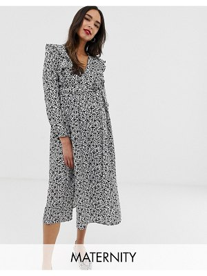 Glamorous Bloom long sleeve midi dress with ruffle detail in ditsy floral-black