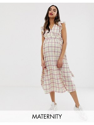Glamorous Bloom midi dress with ruffle shoulders in grid check-white