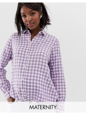Glamorous Bloom oversized boyfriend shirt in gingham-purple