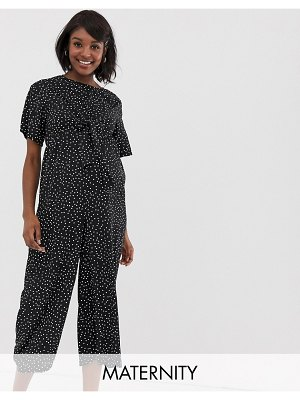 Glamorous Bloom relaxed jumpsuit with tie front in spaced polka dot-black