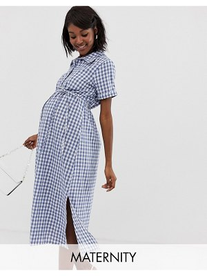 Glamorous Bloom shirt dress with belt in gingham-navy