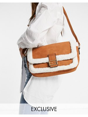 Glamorous exclusive crossbody bag in tan with cream shearling teddy trim