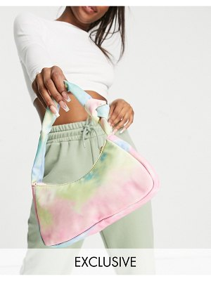 Glamorous exclusive shoulder bag with twist knot strap detail in nylon tie dye-multi