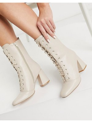 Glamorous lace up heeled ankle boots in bone-cream
