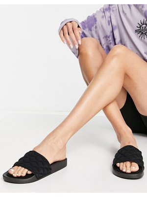 Glamorous quilted slide sandals in black