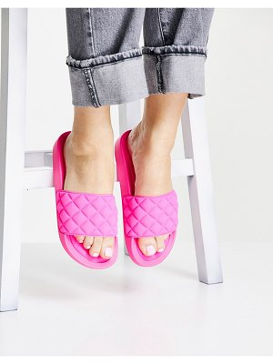 Glamorous quilted slide sandals in hot pink
