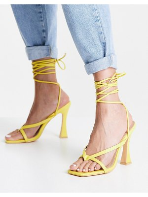Glamorous strappy heeled sandals in lime-green
