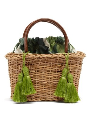 Glorinha Paranagua palermo canvas and wicker basket bag