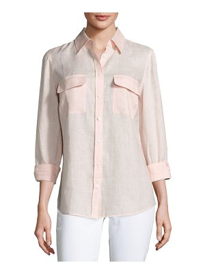 Go Silk Long-Sleeve Button-Front Linen Top