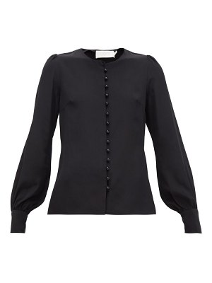 Goat jude faux-pearl button silk blouse