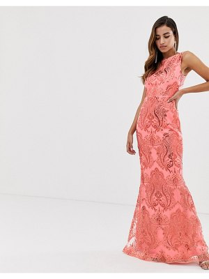 Goddiva sequin embroidery maxi dress with fishtail in coral-pink