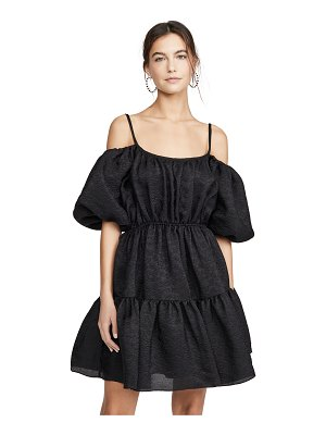 GOEN.J balloon sleeve gathered matelassé mini dress