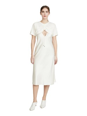 GOEN.J overlayered ruched jersey and satin midi dress