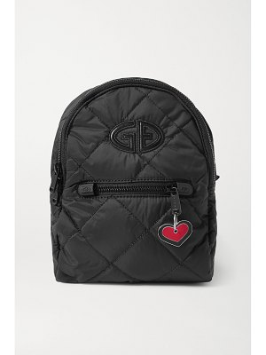Goldbergh mini chain-embellished embroidered quilted shell backpack