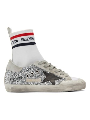 Golden Goose and silver superstar sock high-top sneakers