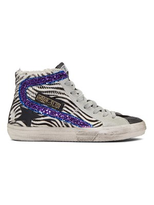 Golden Goose black and white -purple slide sneakers