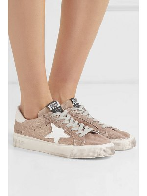 GOLDEN GOOSE DELUXE BRAND may distressed metallic suede and leather sneakers