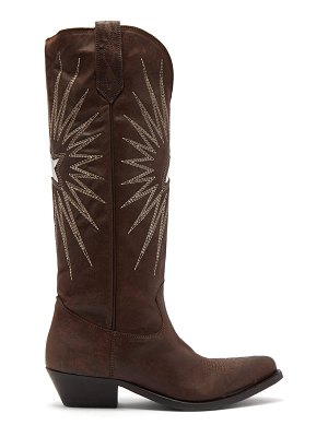 GOLDEN GOOSE DELUXE BRAND wish star embroidered leather boots
