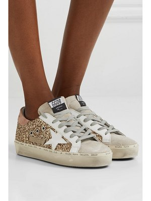 Golden Goose hi star distressed glittered leather and suede sneakers