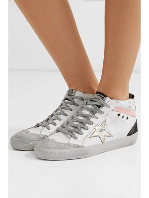 Golden Goose mid star distressed leather and suede sneakers