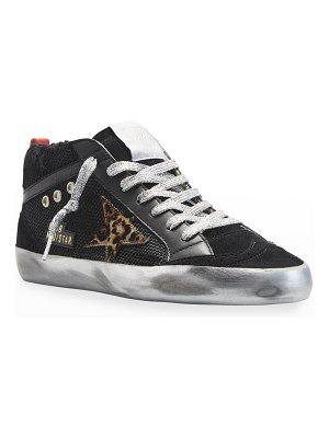 Golden Goose Mid Star Mixed Leather Leopard-Print Sneakers