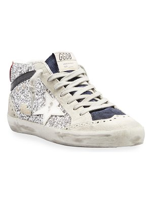 Golden Goose Mid Star Mixed Suede Glitter Sneakers