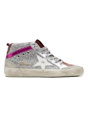 Golden Goose silver and pink glitter mid star sneakers