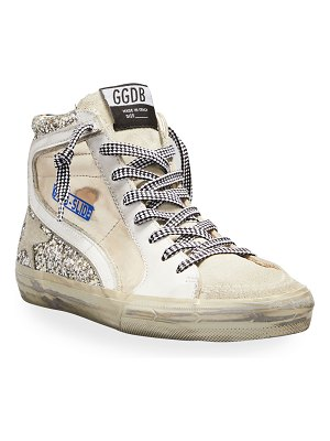 Golden Goose Slide Mixed Leather Glitter Mid-Top Sneakers