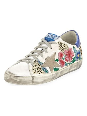 Golden Goose Superstar Floral Embellished Leather Low-Top Sneakers