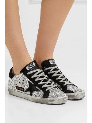 Golden Goose superstar glittered leather and suede sneakers