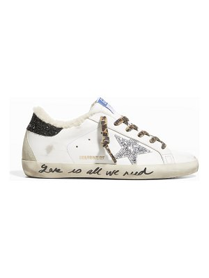 Golden Goose Superstar Leopard-Print Lace Shearling Sneakers