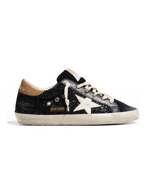 Golden Goose Superstar Navy Glitter With Snake Back And White Star Sneakers