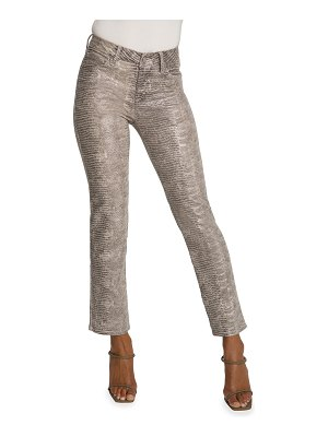 GOOD AMERICAN Good Straight Snake-Print Cropped Jeans