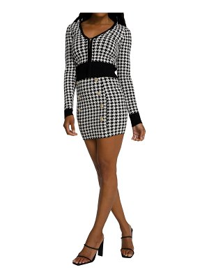 GOOD AMERICAN lil fitted houndstooth cardigan