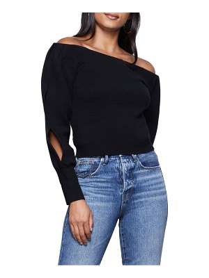 GOOD AMERICAN off the shoulder sweater with slit sleeves