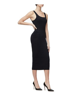 GOOD AMERICAN Square-Neck Sleeveless Side-Ruched Midi Dress