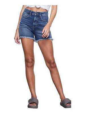 GOOD AMERICAN the bombshell high waist distressed denim shorts