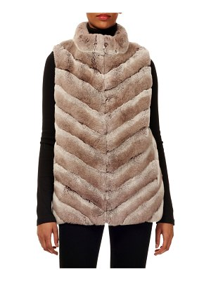 Gorski Chevron Rabbit Fur Zip-Front Vest w/ Knit Back