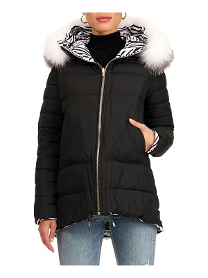 Gorski Reversible Quilted Puffer Jacket W/ Detachable Fox Fur Hood Trim