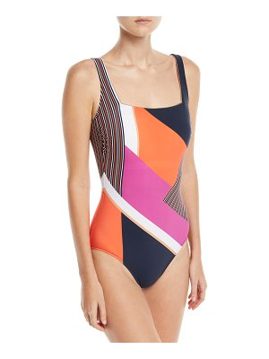 Gottex Martime Square-Neck Mixed-Print One-Piece Swimsuit