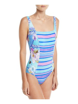 Gottex Samsoir Square-Neck Multi-Printed One-Piece Swimsuit