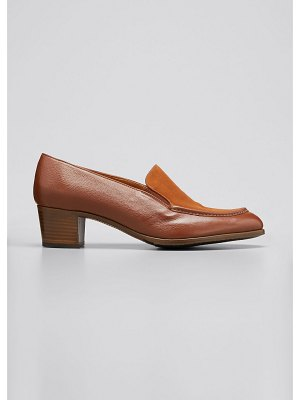 Gravati Mixed Leather Heeled Loafer