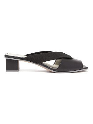 Gray Matters loop crossover leather mules