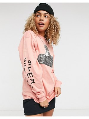 Grimey oversized long sleeve t-shirt with sphinx print-pink
