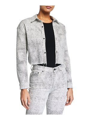 GRLFRND Christy Cropped Animal-Print Jacket