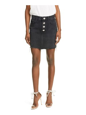 GRLFRND reese crystal button denim miniskirt