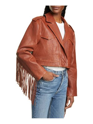 GRLFRND sadie fringe crop leather moto jacket
