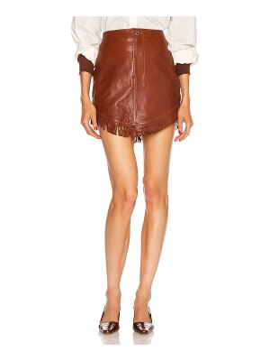 GRLFRND sadie leather fringe mini skirt