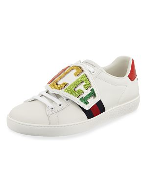 Gucci Rainbow Gucci Patch Leather Low-Top Sneakers